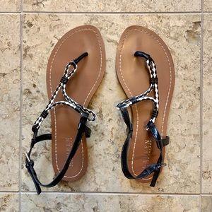 Ralph Lauren Braided Leather Thong Sandals